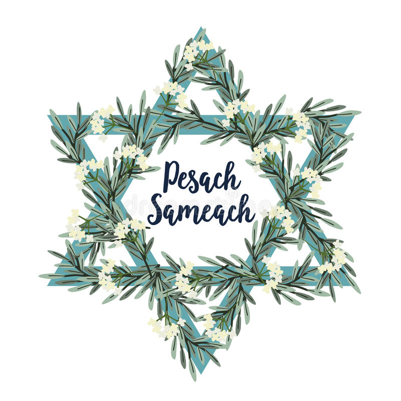 Pesach Passover greeting card with Jewish star, hand drawn olive branches and flowers. Vector illustration background. Pesach Passover greeting card with Jewish royalty free illustration