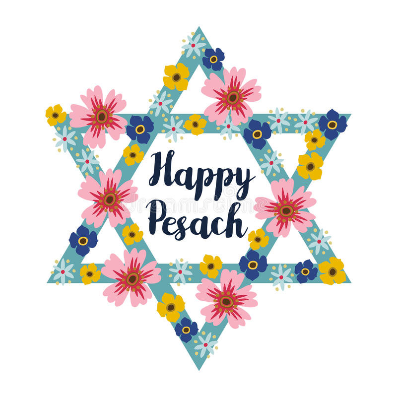 Free Pesach Passover Greeting Card With Jewish Star And Flowers, Illustration Background Stock Photos - 69394583