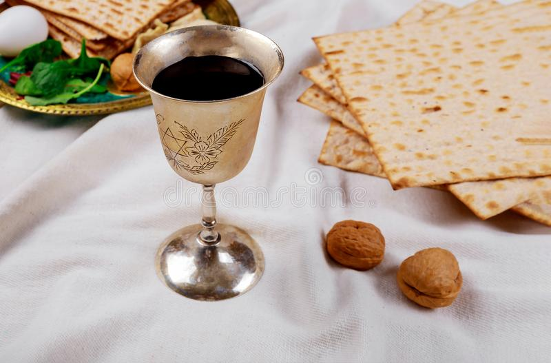 Pesach Passover symbols of great Jewish holiday. Traditional matzoh. Pesach symbols of great traditional jewish holiday passover matzoh judaism unleavened bread royalty free stock photos