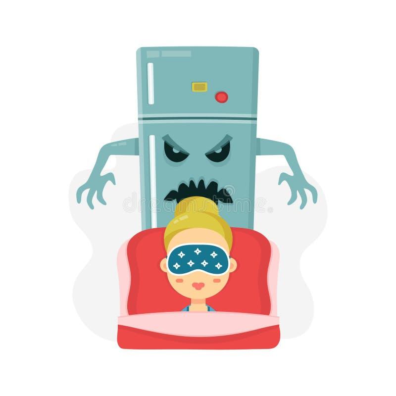 Pesadilla de las mujeres jovenes refrigerador asustadizo y muchacha durmiente ejemplo plano del personaje de dibujos animados del libre illustration