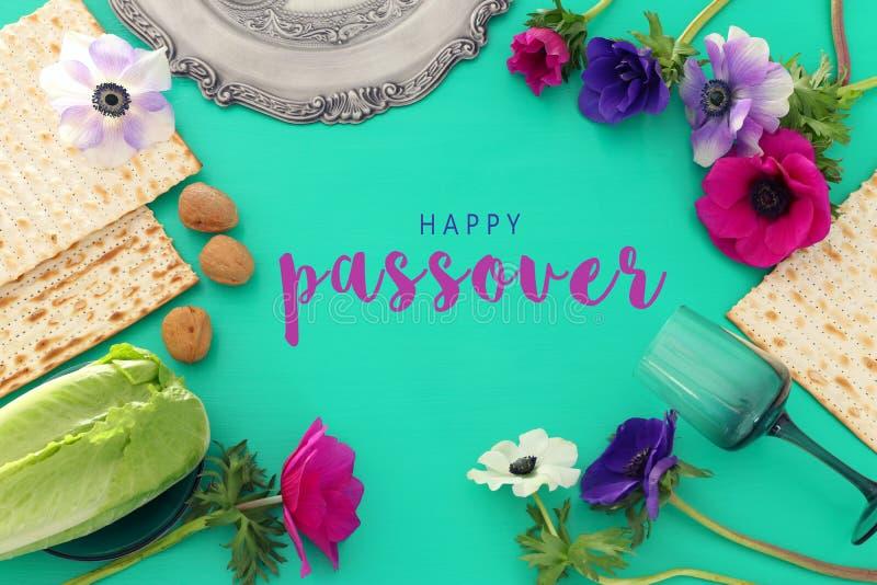Pesah świętowania pojęcie & x28; żydowski Passover holiday& x29; Odgórny widok, mieszkanie nieatutowy zdjęcia royalty free
