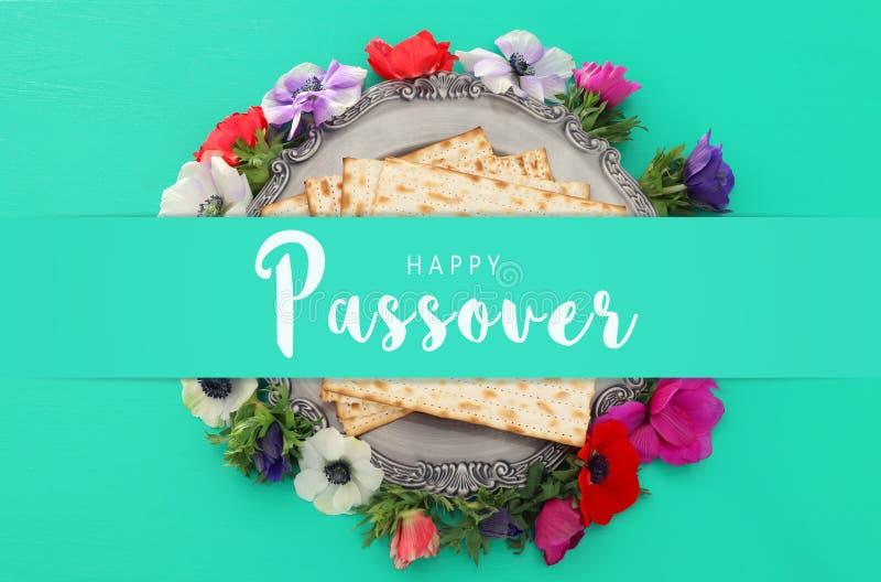 Pesah świętowania pojęcie & x28; żydowski Passover holiday& x29; Odgórny widok, mieszkanie nieatutowy obrazy royalty free