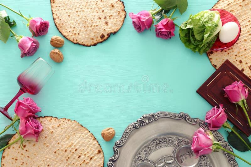 Pesah berömbegrepp & x28; judisk påskhögtidholiday& x29; Bästa sikt, lekmanna- lägenhet fotografering för bildbyråer