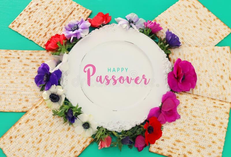 Pesah berömbegrepp & x28; judisk påskhögtidholiday& x29; Bästa sikt, lekmanna- lägenhet royaltyfri bild