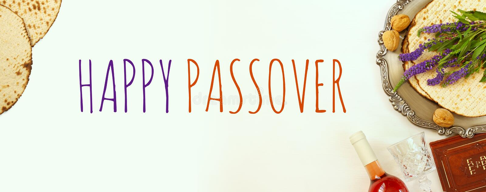 Pesah celebration concept & x28;jewish Passover holiday& x29;. Traditional book with text in hebrew: Passover Haggadah & x28;Passover Tale& x29;. Website royalty free stock images