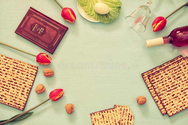 Pesah celebration concept & x28;jewish Passover holiday& x29;. Traditional book with text in hebrew: Passover Haggadah & x28;Passover Tale& x29 royalty free stock photo