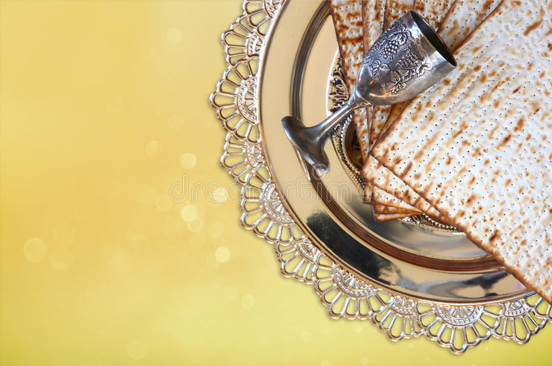 Pesah celebration concept (jewish Passover holiday) with wine and matza royalty free stock photo
