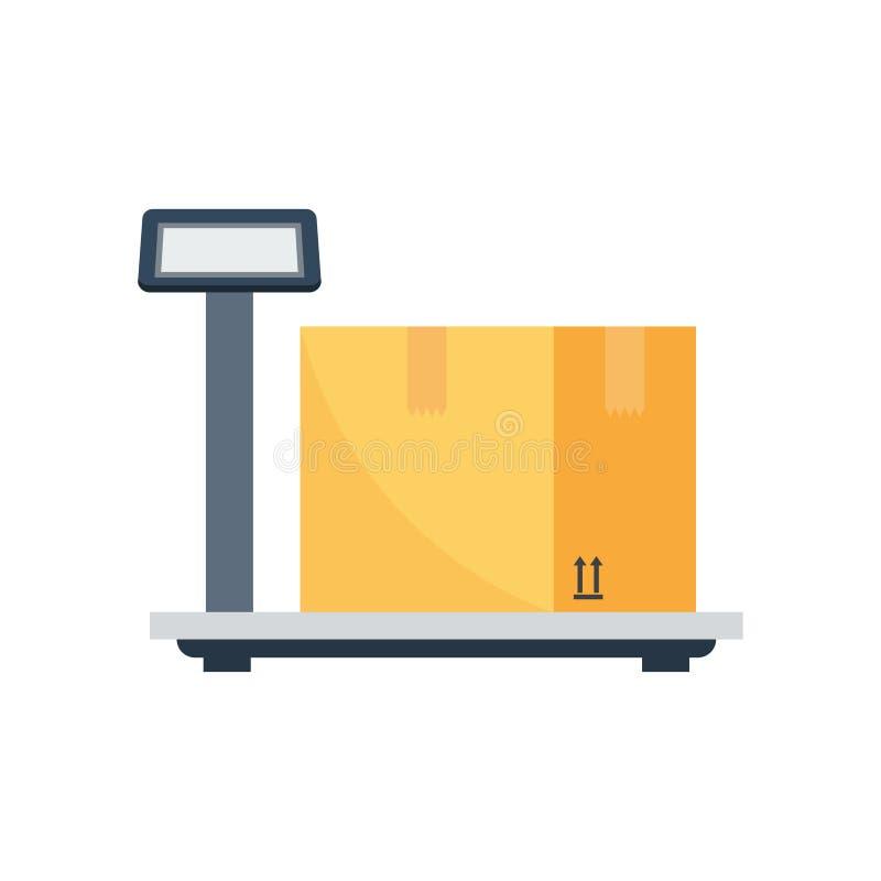 Pesando o ícone da caixa da entrega ilustração royalty free