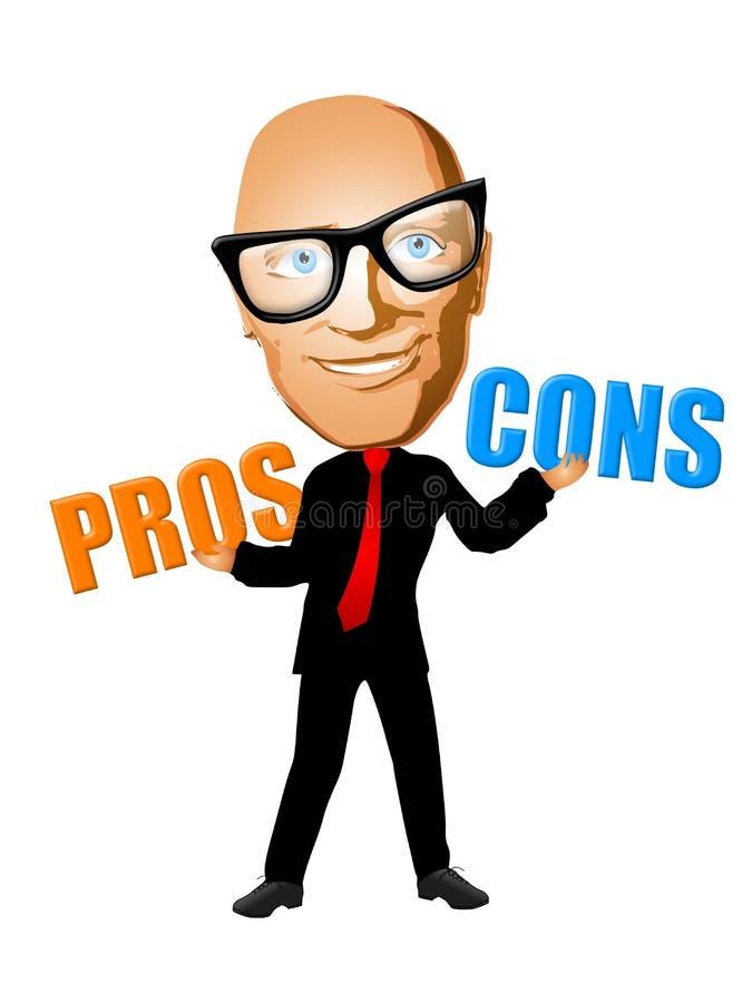 Pesando os profissionais - e - contra ilustração stock