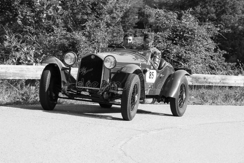 ALFA ROMEO 6C 1500 GRAN SPORT `TESTA FISSA` 1933 on an old racing car in rally Mille Miglia 2018 the famous italian historical rac. PESARO COLLE SAN BARTOLO royalty free stock photo