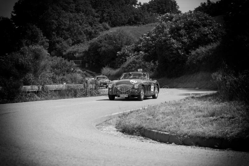 AUSTIN HEALEY 100/4 BN2 1956 on an old racing car in rally Mille Miglia 2018 the famous italian historical race 1927-1957. PESARO COLLE SAN BARTOLO , ITALY - MAY royalty free stock photography