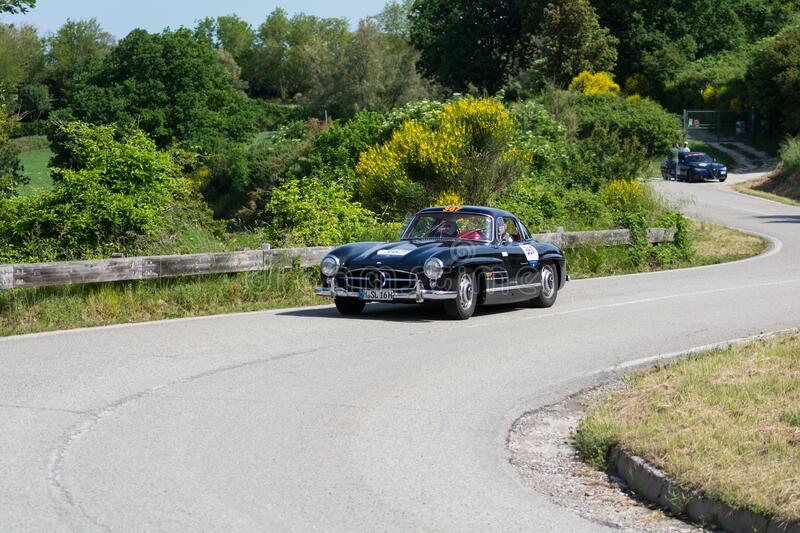 MERCEDES-BENZ 300 SL COUPÉ W198 1956 on an old racing car in rally Mille Miglia 2018 the famous italian historical race 1927-19. PESARO COLLE SAN BARTOLO stock photo