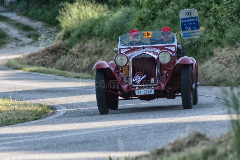 ALFA ROMEO 6C 1750 GRAN SPORT BRIANZA1932. PESARO COLLE SAN BARTOLO , ITALY - MAY 17 - 2018 :old racing car in rally Mille Miglia 2018 the famous italian royalty free stock photo