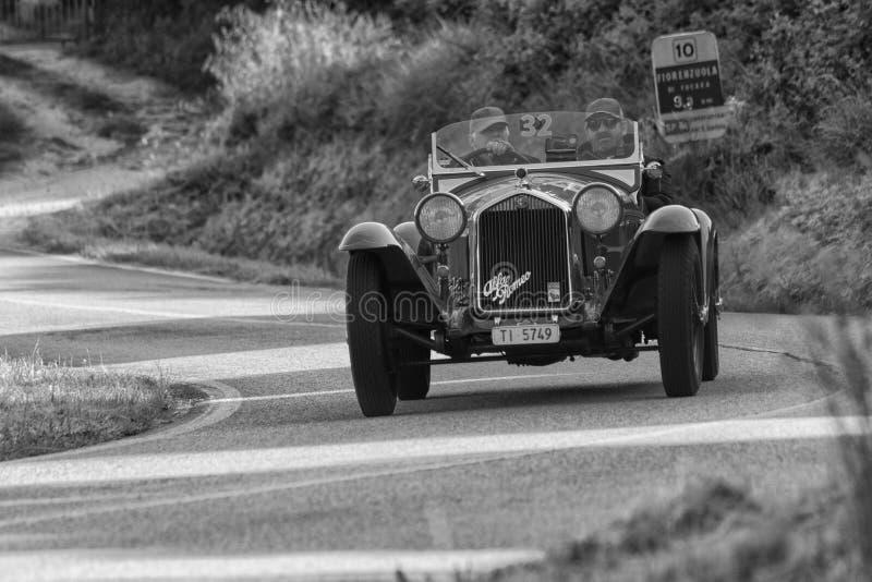 ALFA ROMEO 6C 1750 GRAN SPORT BRIANZA1932. PESARO COLLE SAN BARTOLO , ITALY - MAY 17 - 2018 :old racing car in rally Mille Miglia 2018 the famous italian royalty free stock photography