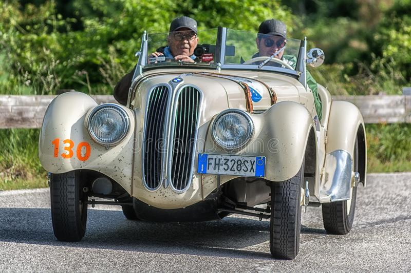 PESARO COLLE SAN BARTOLO , ITALY - MAY 17 - 2018 : BMW 3281939 old racing car in rally Mille Miglia 2018 the famous italian histo. PESARO COLLE SAN BARTOLO stock photos