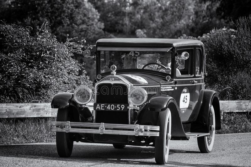 BUICK MASTER SIX COUPE 1928. PESARO COLLE SAN BARTOLO , ITALY - MAY 17 - 2018 :old racing car in rally Mille Miglia 2018 the famous italian historical race 1927 stock photos