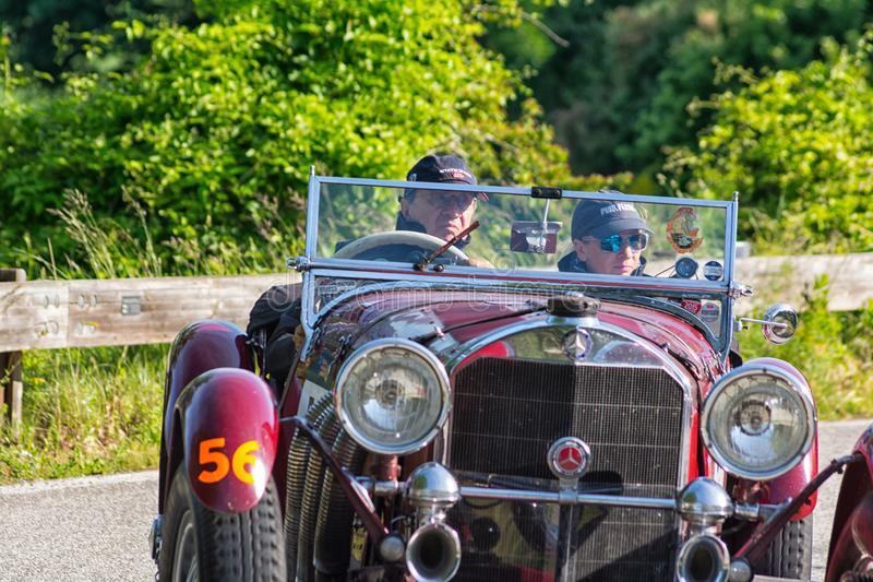 MERCEDES-BENZ 710 SSK 1929. PESARO COLLE SAN BARTOLO , ITALY - MAY 17 - 2018 :old racing car in rally Mille Miglia 2018 the famous italian historical race 1927 royalty free stock images