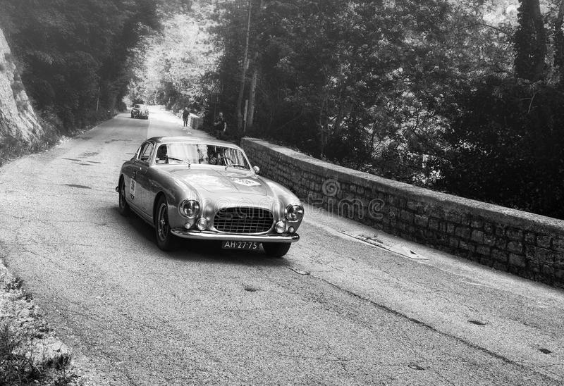 FERRARI 250 GT EUROPA 1954 on an old racing car in rally Mille Miglia 2017. PESARO, ITALY - MAY 15: old racing car in rally Mille Miglia 2015 the famous italian stock image