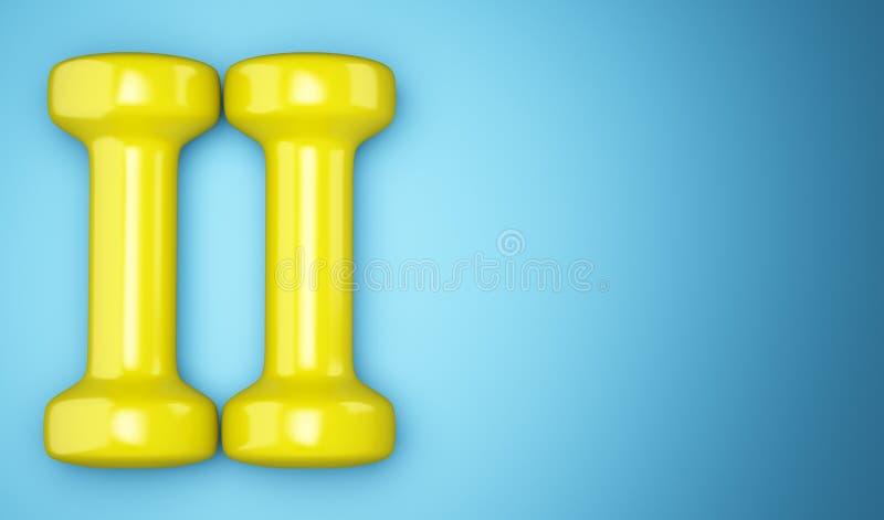 Pesas de gimnasia amarillas aisladas en azul stock de ilustración