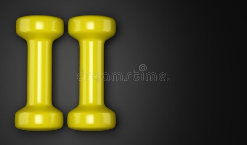 Pesas de gimnasia amarillas aisladas en negro ilustración del vector