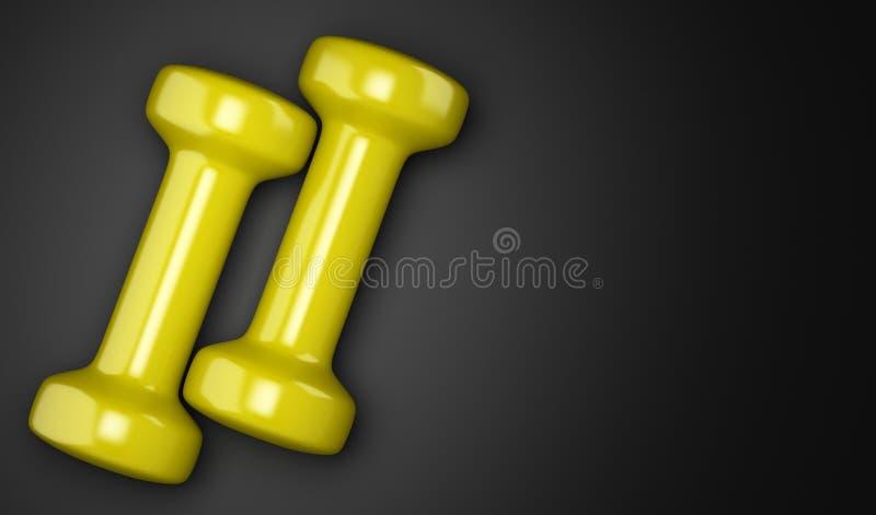 Pesas de gimnasia amarillas aisladas en negro libre illustration