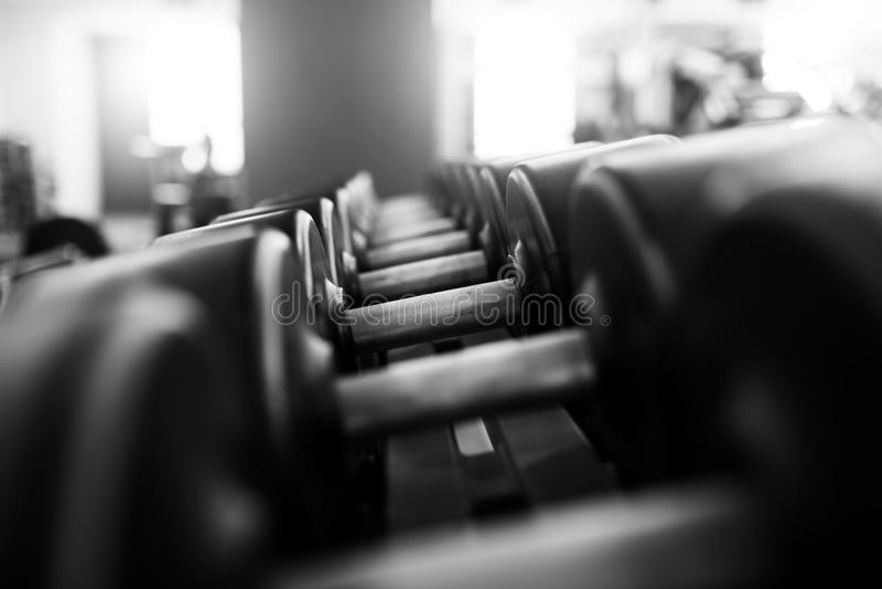 Pesas de gimnasia del metal que mienten en el club de fitness del gimnasio foto de archivo libre de regalías