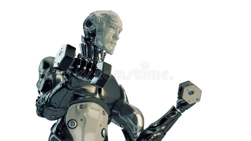 Pesas de gimnasia fuertes frescas de la elevación del robot libre illustration