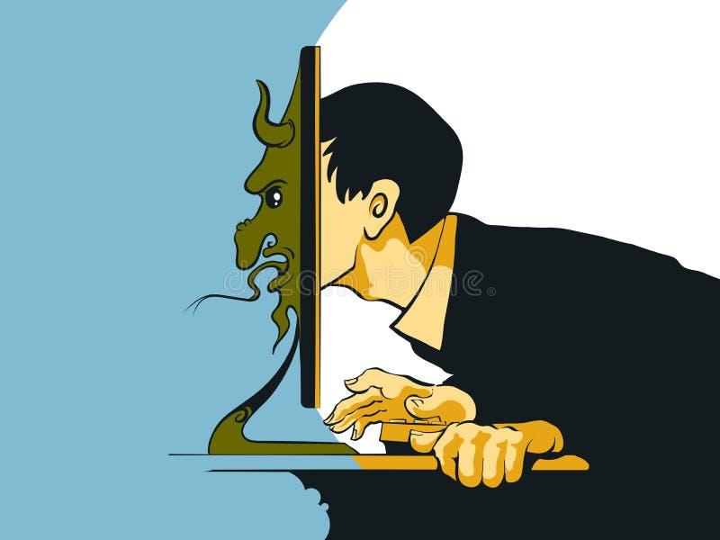 Pesca à corrica do Internet que senta-se no computador ilustração do vetor