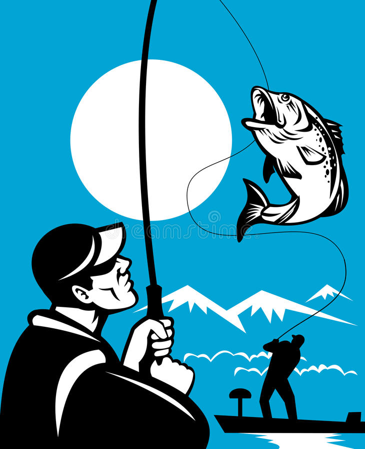 Pesca baja bocazas stock de ilustración