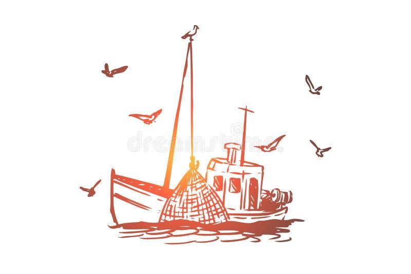 Pesca, barca, annuncio pubblicitario, nave, concetto marino Vettore isolato disegnato a mano illustrazione vettoriale