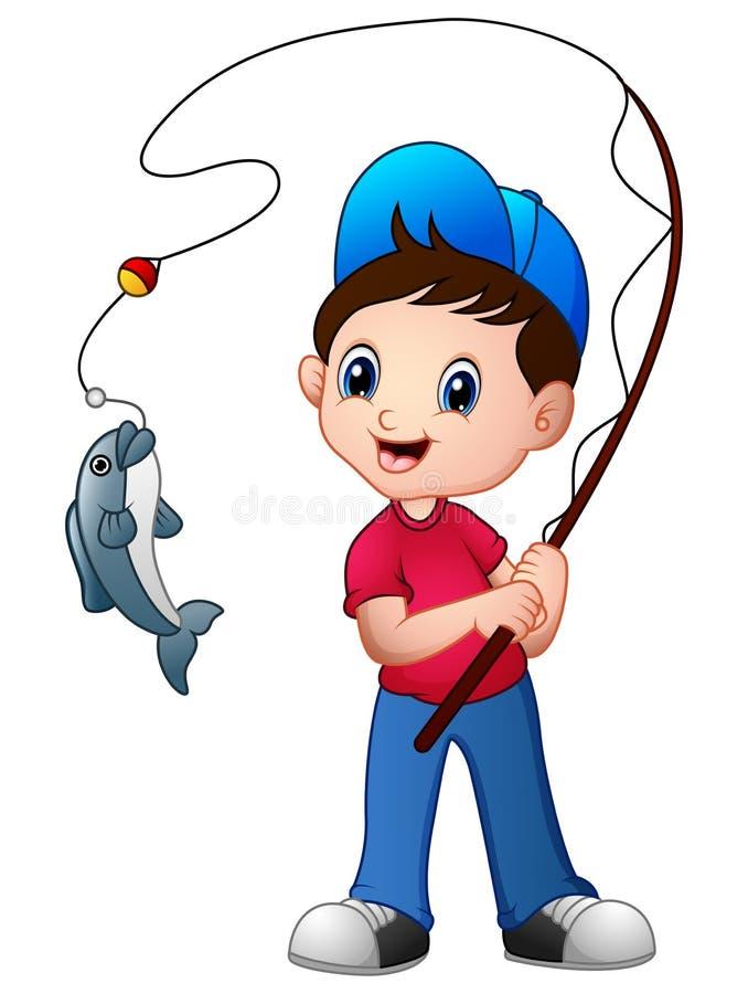 Pesca bonito do menino dos desenhos animados ilustração stock