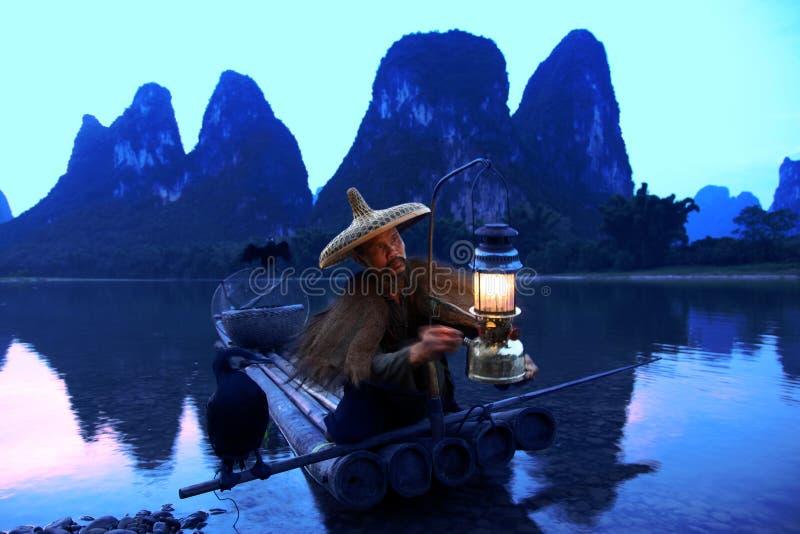 Pesca cinese dell'uomo con gli uccelli dei cormorani dentro immagini stock libere da diritti