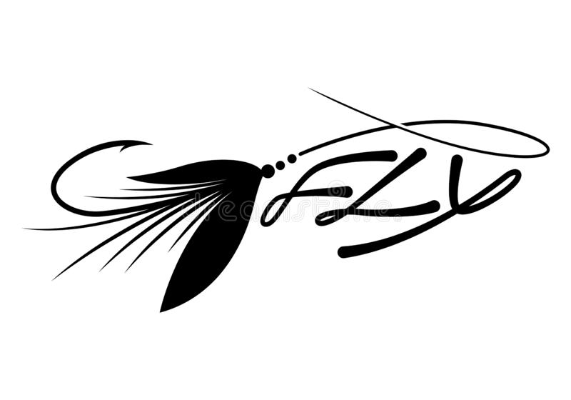 Pesca com mosca gráfica da atração, vetor foto de stock