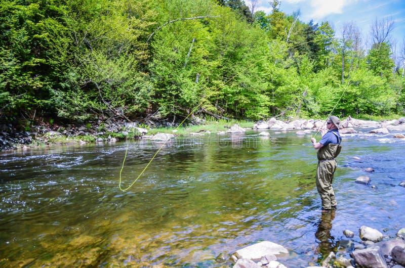 Pesca com mosca - Lake Placid, New York foto de stock royalty free