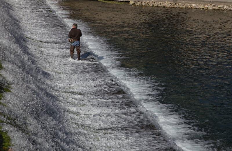 Pesca con la mosca dell'uomo su una diga del fiume fotografia stock