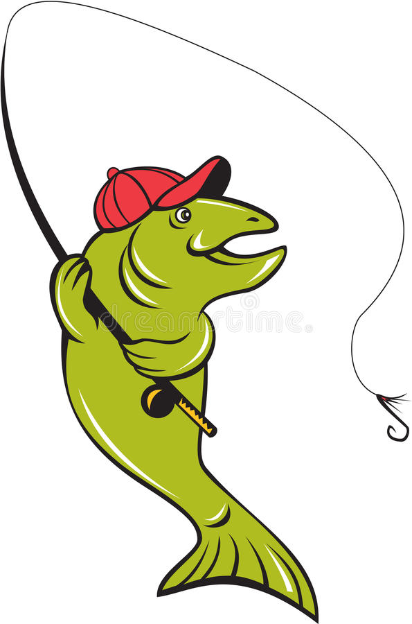 Pesca con la mosca Rod Hook Cartoon della trota royalty illustrazione gratis