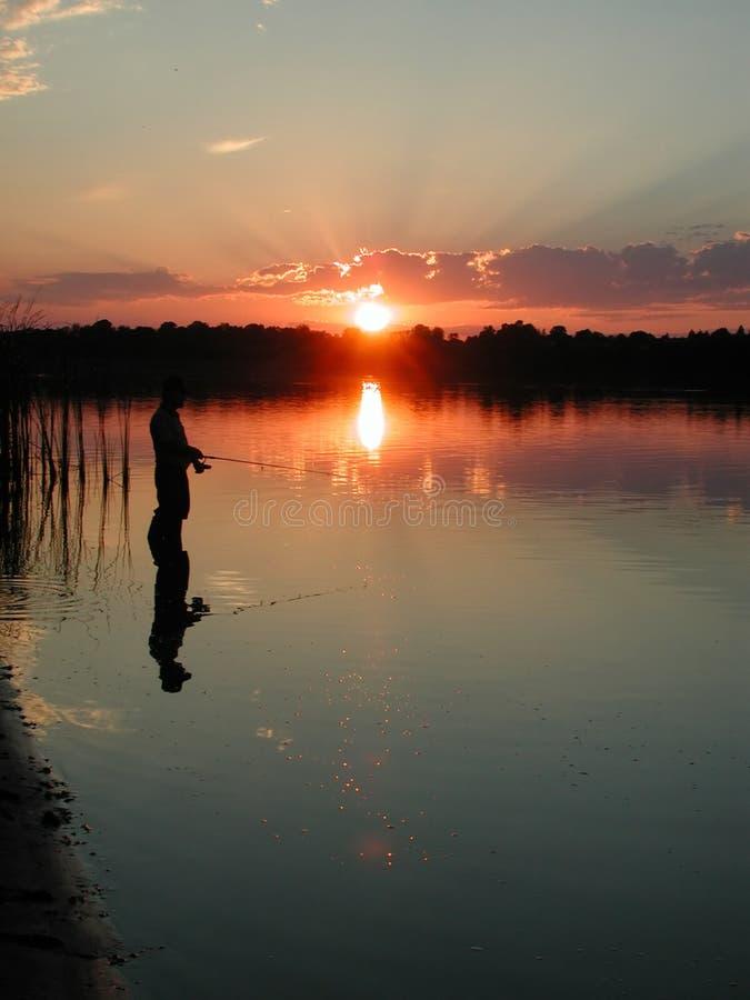 Pesca da noite fotografia de stock royalty free