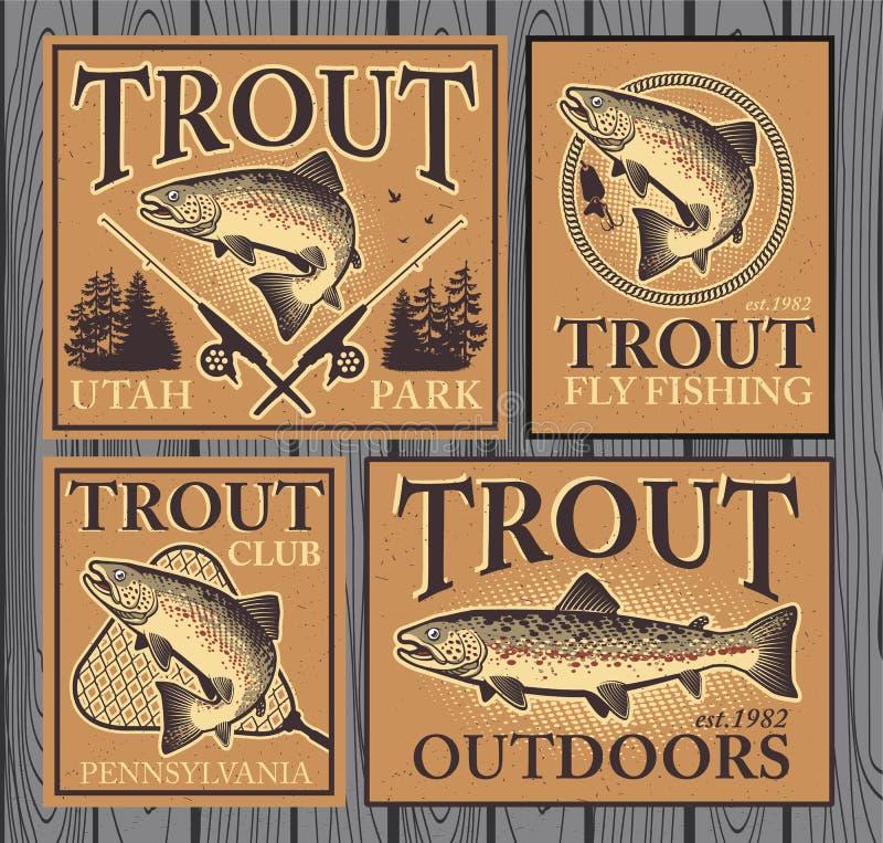 Pesca da truta ilustração royalty free