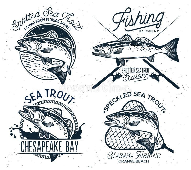 A pesca da truta de mar do vintage simboliza, etiquetas e elementos do projeto ilustração do vetor