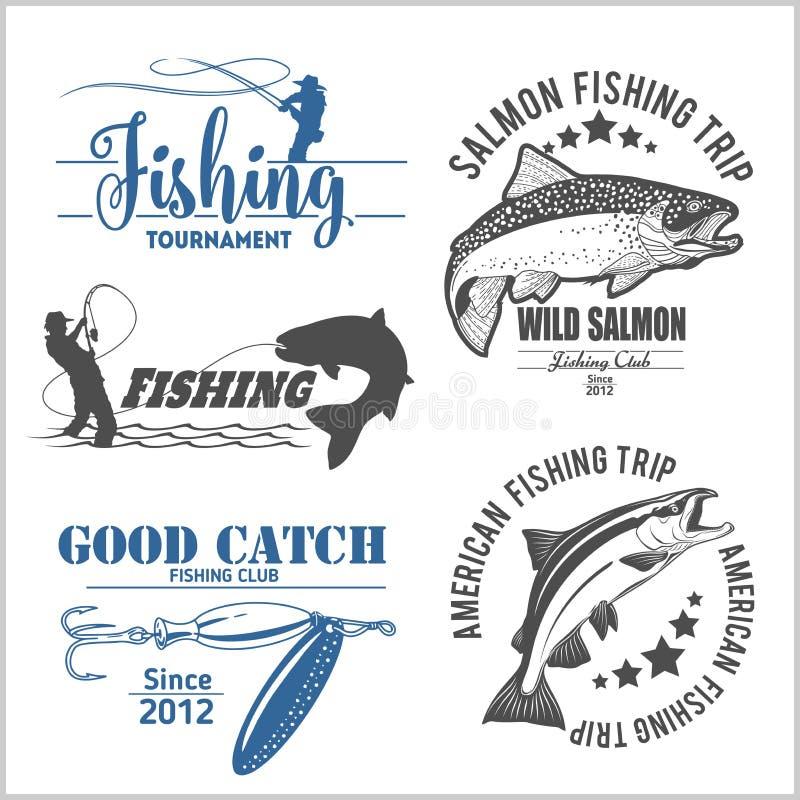 A pesca da truta do vintage simboliza, etiquetas e elementos do projeto ilustração do vetor