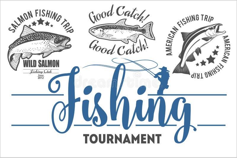 A pesca da truta do vintage simboliza, etiquetas e elementos do projeto ilustração stock