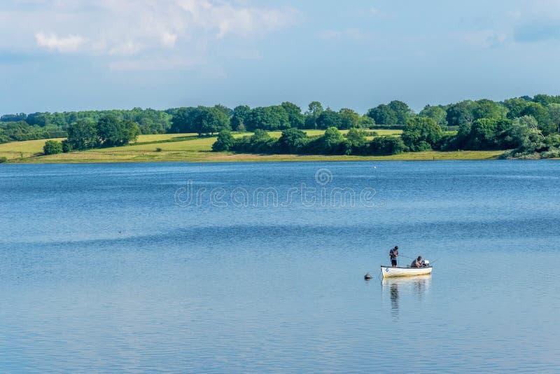 Pesca da truta na água de Bewl, Kent fotos de stock royalty free