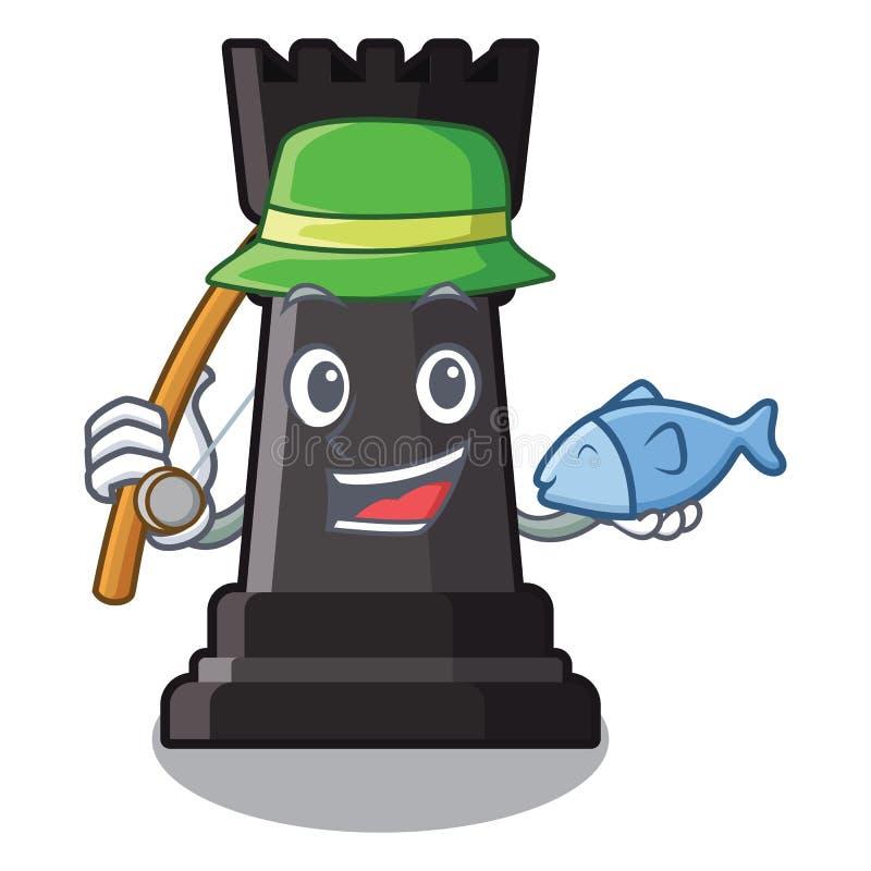 Pesca de ajedrez del grajo en la forma de carácter stock de ilustración