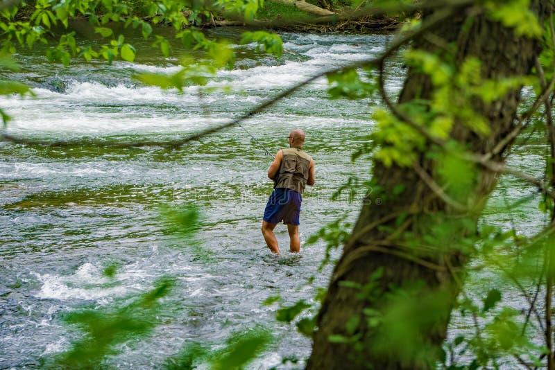 Pesca de Fishman en los rápidos del río de Roanoke imágenes de archivo libres de regalías