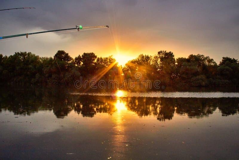 Pesca de la mañana foto de archivo libre de regalías
