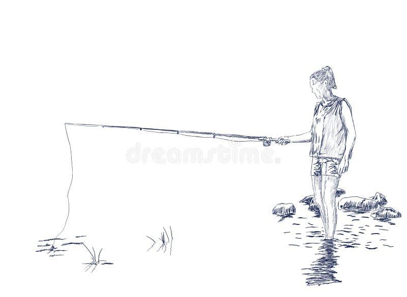 Pesca de la mujer en la orilla del río ilustración del vector