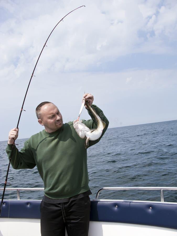 Pesca de mar do motorboat foto de stock royalty free