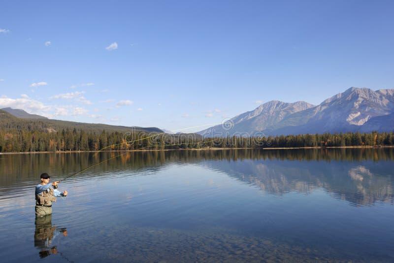 Pesca de mosca em montanhas rochosas, Alberta, Canadá foto de stock