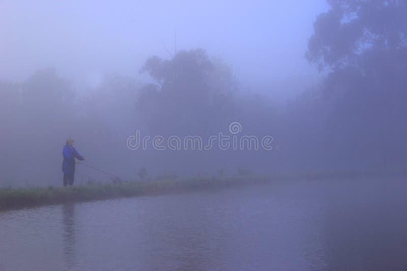 Pesca de mosca en la niebla fotos de archivo