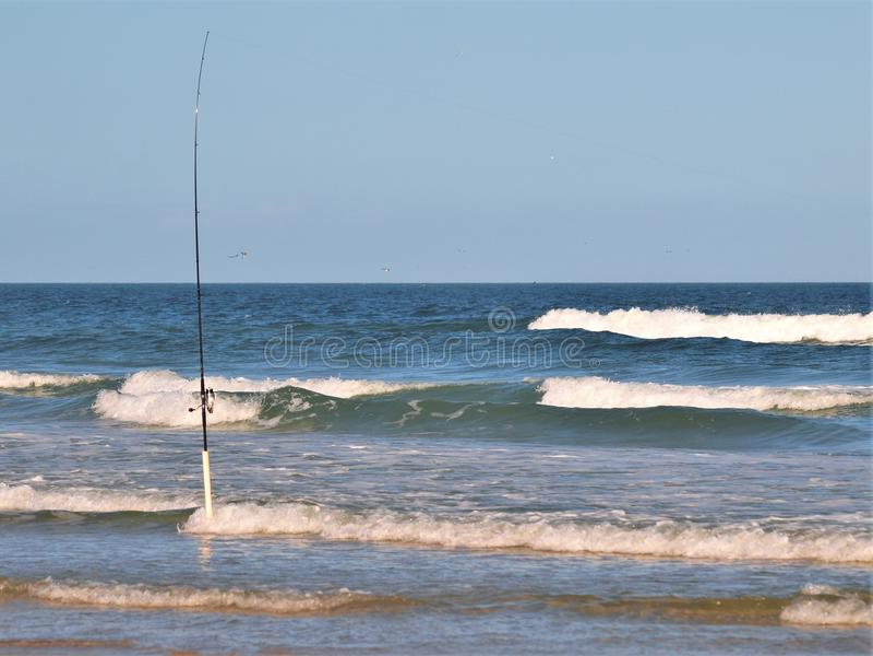 Pesca de resaca en la nueva playa de Smyrna, la Florida foto de archivo libre de regalías